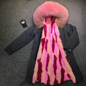Jackets & Blazers - Fur parka/jacket/coat with rabbit fur lined